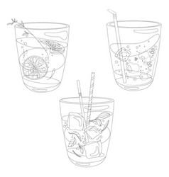 set of summer cooling drinks with fruits vector image