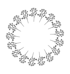 shape of sphere with branches of flowers vector image