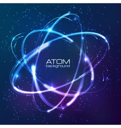 Shining neon lights atom model vector