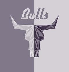 Skull bull abstract logo grey triangles vector