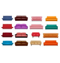 sofa icon set realistic style vector image