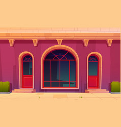 Store front with glass doors and arch window vector
