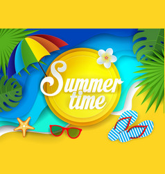 summertime paper cut vector image