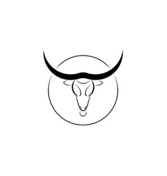taurus black bull head logo design template vector image