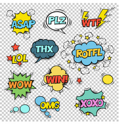 thx asap plz wtf lol rotfl wow win omg xoxo comic vector image
