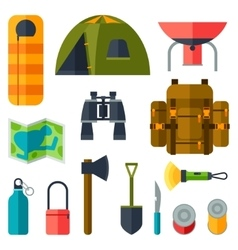 tourist set camping equipment icons in flat vector image