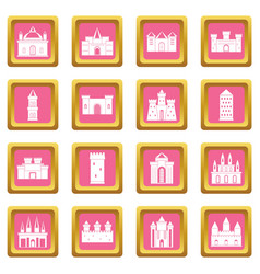Towers and castles icons pink vector