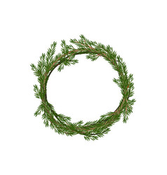 Traditional merry christmas wreath spruce vector