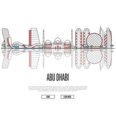 Travel abu dhabi poster in linear style vector