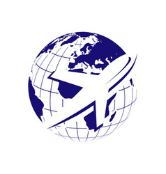 Travel globe and airplane logo icon vector