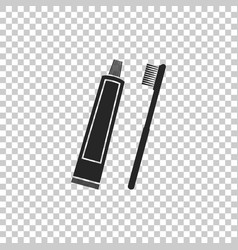Tube of toothpaste and toothbrush icon isolated vector