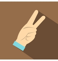 Two fingers raised up gesture icon flat style vector image