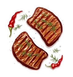 two piece of meat steak vector image