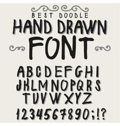 Vintage alphabet hand drawn font vector image