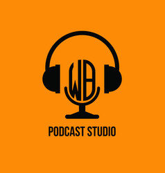 Wb monogram headphone and microphone style vector