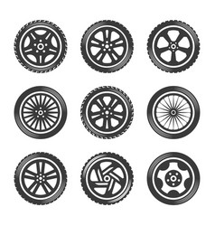 wheels icon set cars vector image
