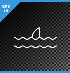 White line shark fin in ocean wave icon isolated vector