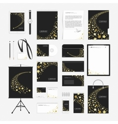 Yellow stars corporate identity template vector image