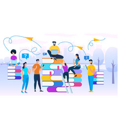 young people stydying together sit on books heaps vector image