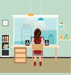 brunette woman works at computer vector image