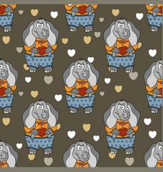 cartoon of funny cute elephant in vector image
