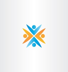 people teamwork orange blue logo sign vector image