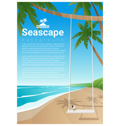 seascape background with swing on tropical beach vector image