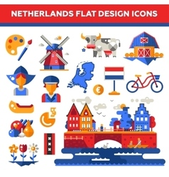 Set of flat design Holland travel icons vector image vector image