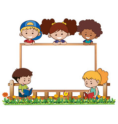 board template with five kids in garden vector image
