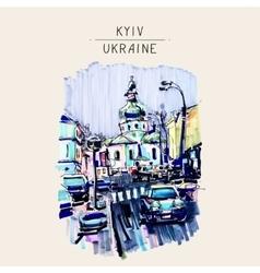 original marker urban sketch on paper of Kyiv vector image vector image