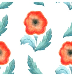 Seamless pattern red vintage flower watercolor vector image