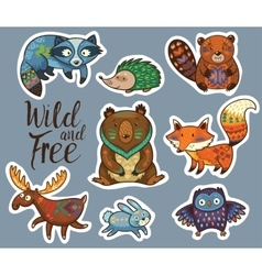 Sticker set of forest animals in cartoon style vector image