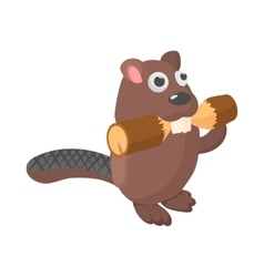 Beaver icon cartoon style vector