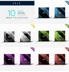 Collection of glass square web boxes vector image vector image
