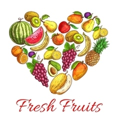 Fresh fruits and berries heart shape poster vector image vector image