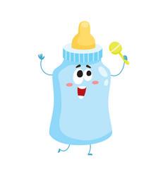 funny baby milk feeding bottle character mascot vector image vector image