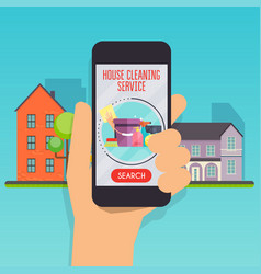 House cleaning service concept hand holding vector