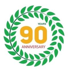 Template Logo 90 Anniversary in Laurel Wreath vector image