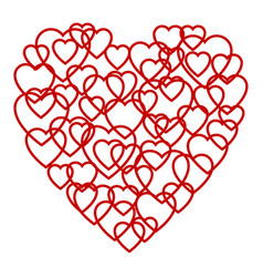 a big red heart made up of little hearts vector image vector image