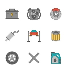 Auto service flat line icons vector image vector image