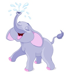 Sprinkling baby elephant vector image vector image