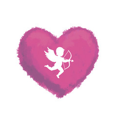textured heart with cupid vector image