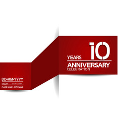10 years anniversary design with red and white vector