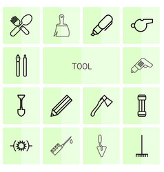 14 tool icons vector
