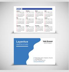 2020 pocket calendar vector