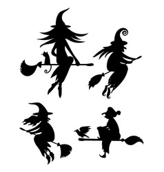 A set of black silhouettes of witches flying on a vector