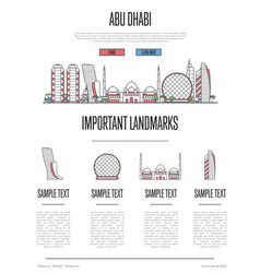 abu dhabi travel infographics in linear style vector image