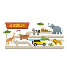 african safari animals and tour vehicle vector image