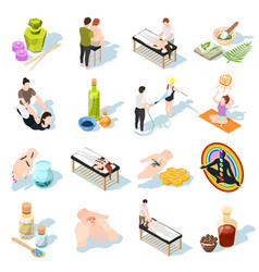 Alternative medicine isometric icons vector