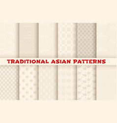 Asian chinese japanese seamless patterns vector